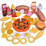 Play Food Set for Kids Kitchen Toys Fun Fast Food Assortment Plastic Pretend Food Playset for Children Girls Boys Kids Toddlers Educational Early Age Basic Skills Development 49pcs