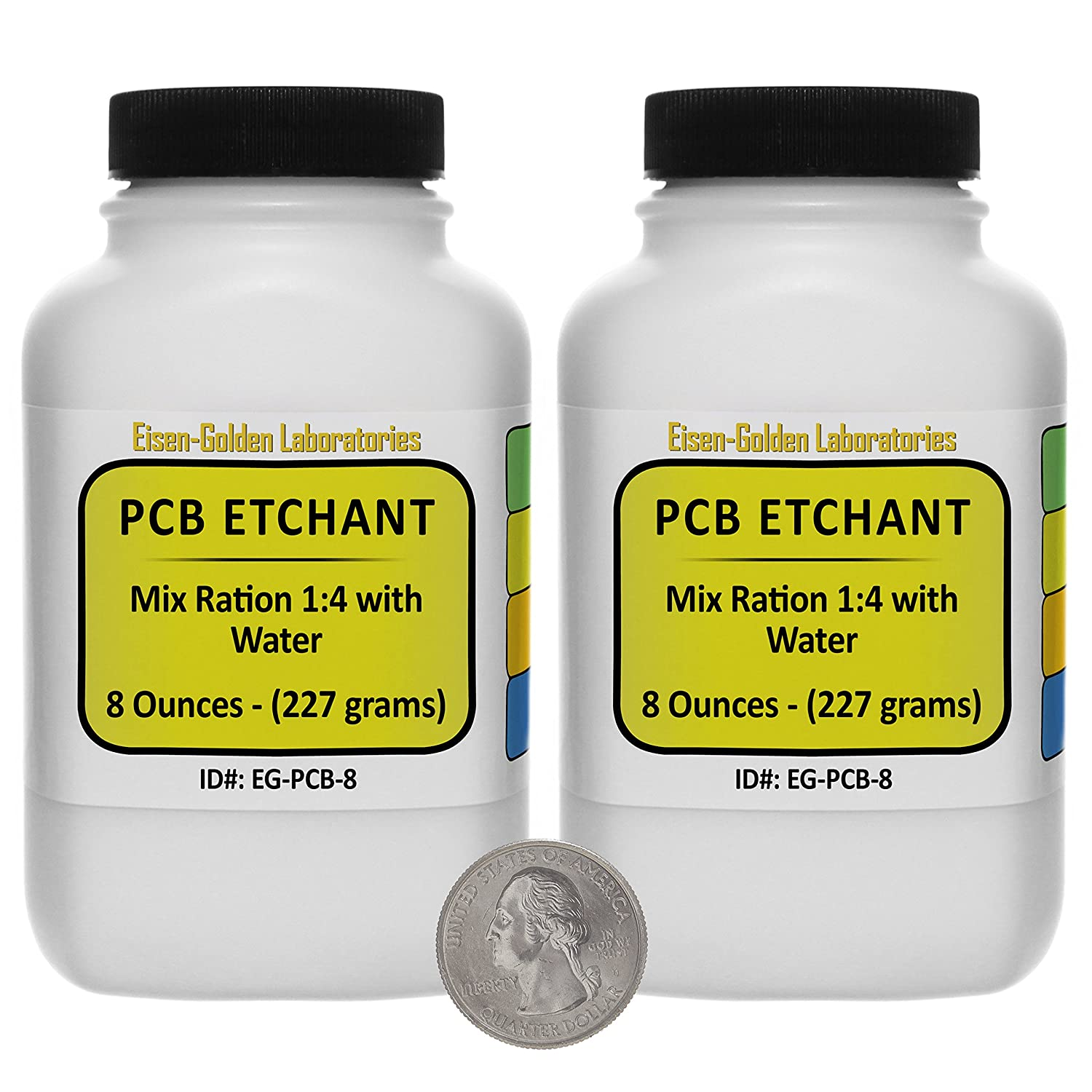 Printed Circuit Board Etchant [PCB] Dry Powder 1 Lb in Two Space-Saver Bottles USA Eisen-Golden Laboratories EG-PCB-16/2