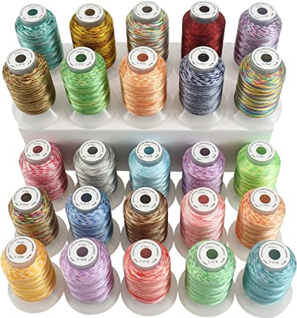 New brothread 25 Multicolore Polyester Fil Machine /à Broder pour Brother//Babylock//Janome//Singer//Kenmore Machine 500M // Bobine 550Y