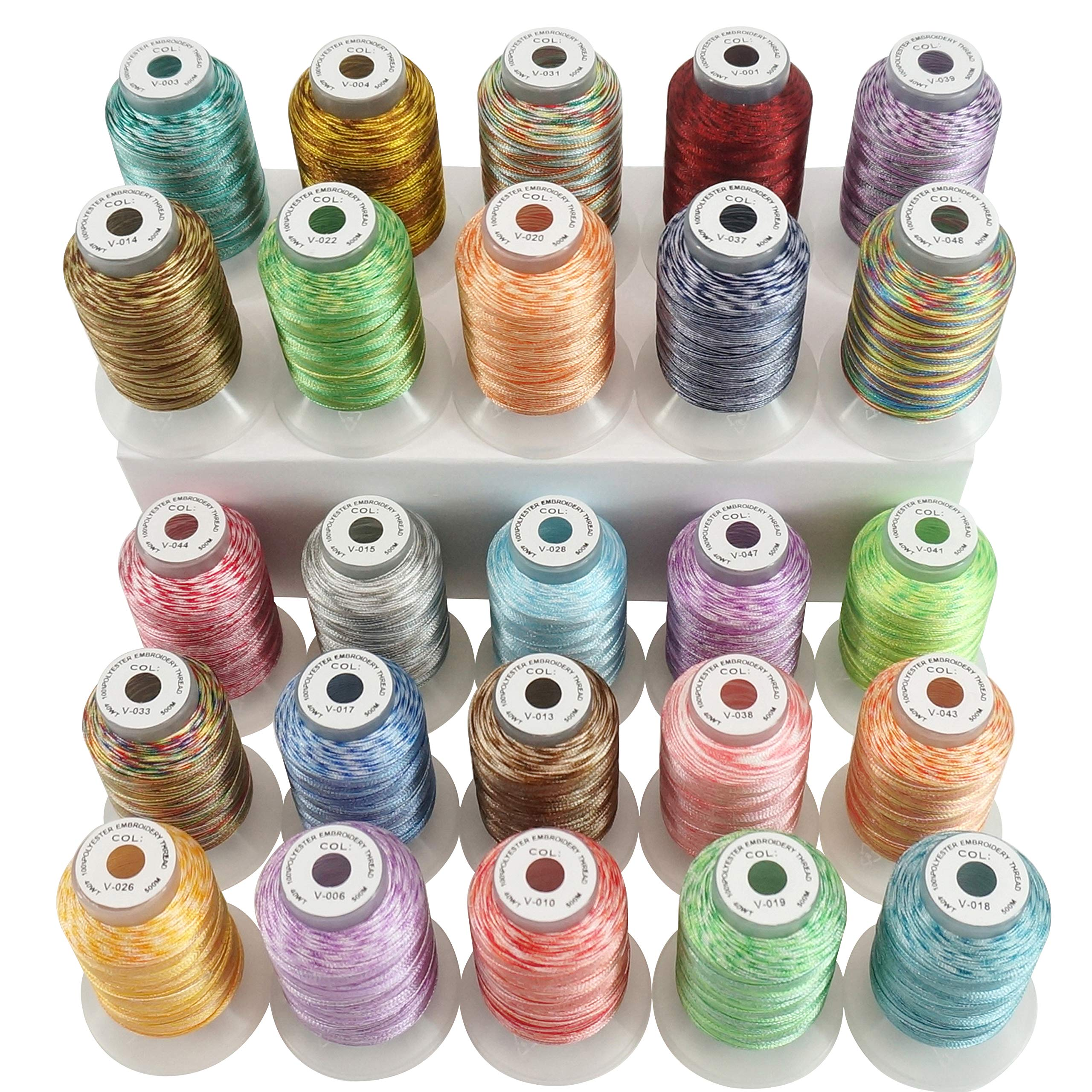 New brothread 25 Colors Variegated Polyester Embroidery Machine Thread Kit 500M (550Y) Each Spool for Brother Janome Babylock Singer Pfaff Bernina Husqvaran Embroidery and Sewing Machines by New brothread