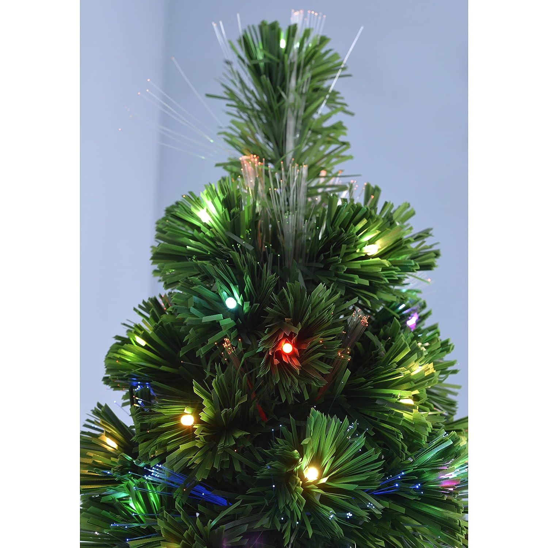 Werchristmas Pre Lit Christmas Tree With 248 Fibre Optic Lights, Multi Colour,