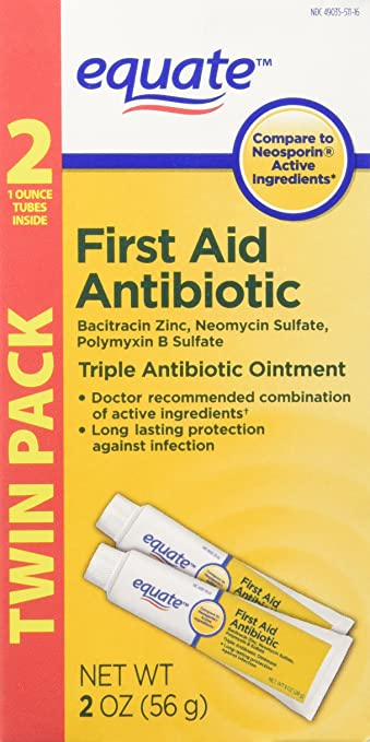 Equate Triple Antibiotic First Aid Ointment, 1 oz (Compare to Neosporin  Active Ingredients) Twin Pack