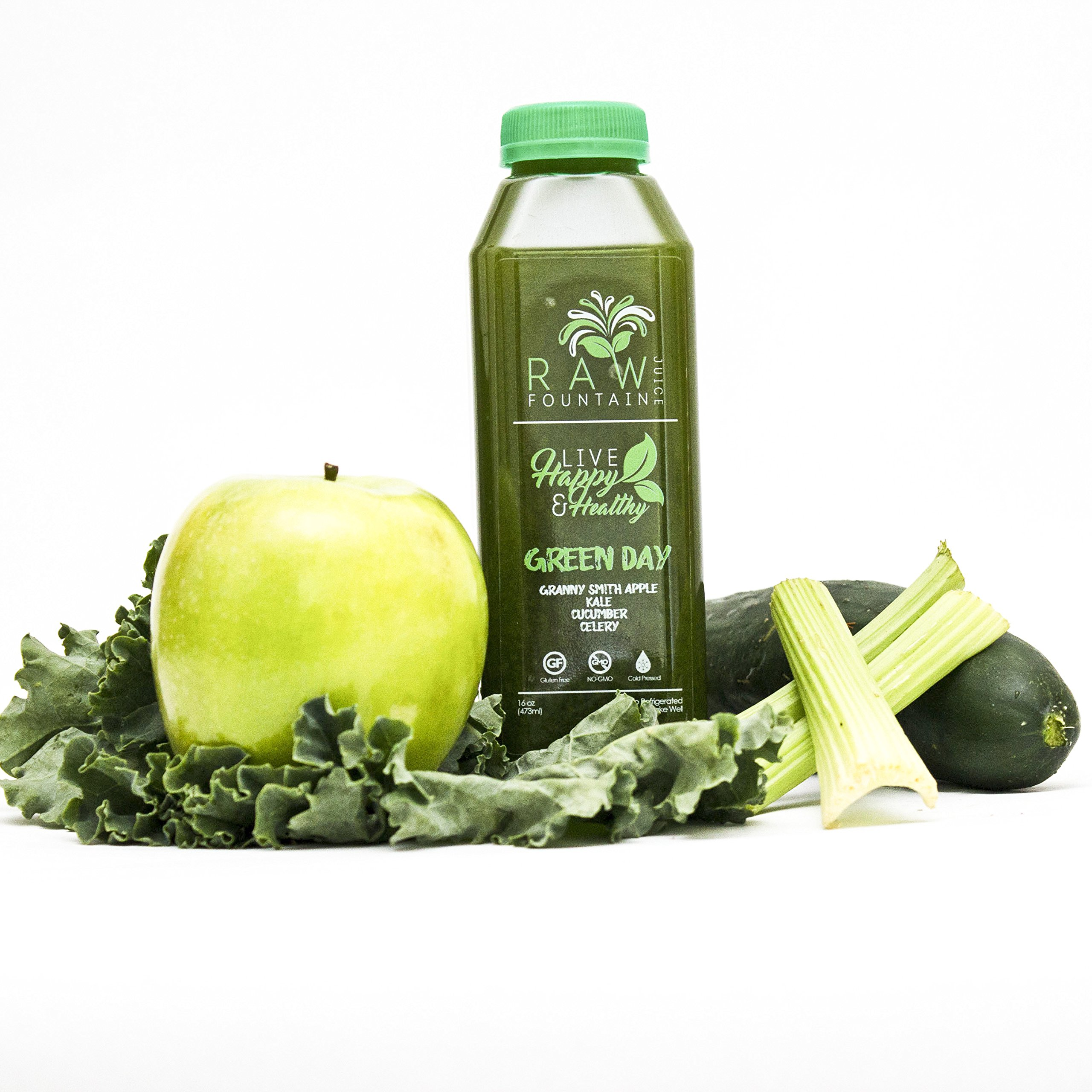 7 Day Juice Cleanse by Raw Fountain Juice - 100% Fresh Natural Organic Raw Vegetable & Fruit Juices - Detox Your Body in a Healthy & Tasty Way! - 42 Bottles (16 fl oz) + 7 BONUS Ginger Shots by Raw Threads (Image #7)