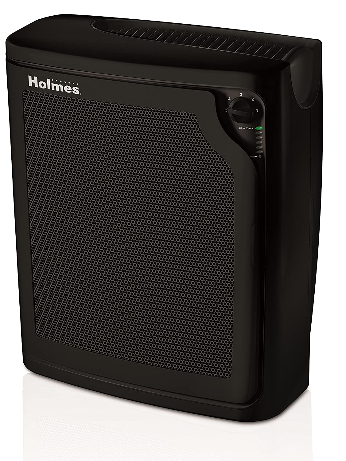 Holmes Large Room 4-Speed True HEPA Air Purifier with Quiet Operation, Black