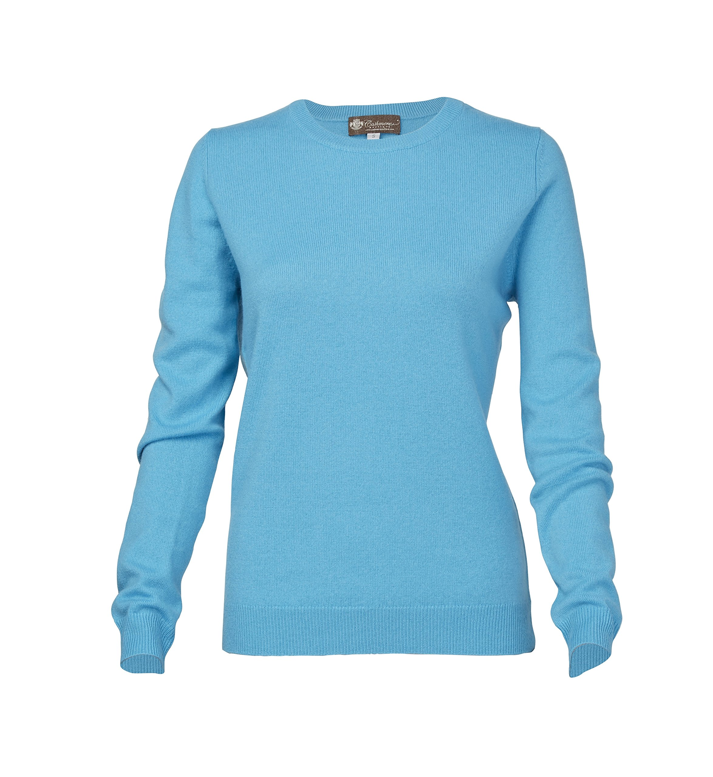 Women's Crew Neck Cashmere Sweater (Turquoise Blue, Small)