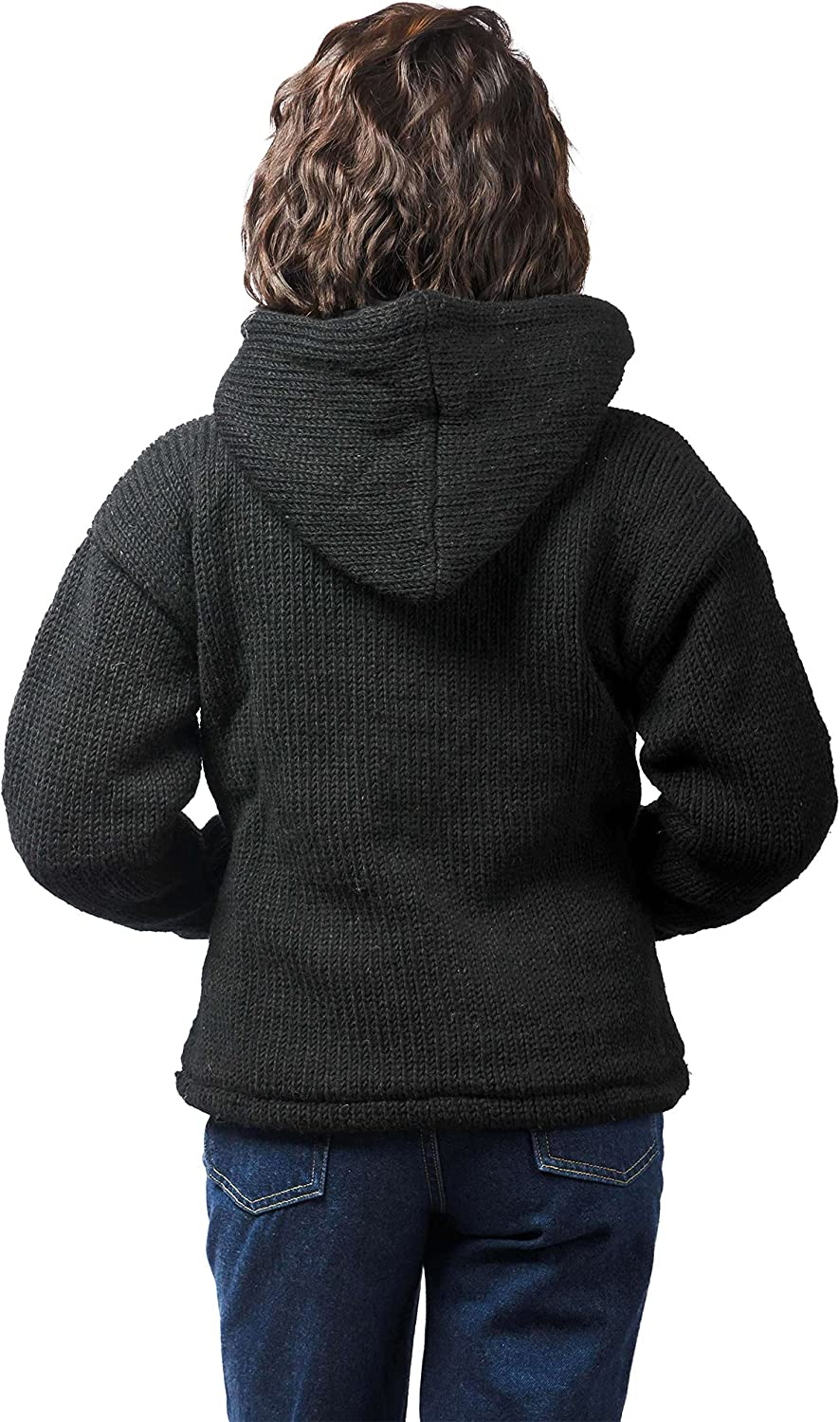 Black TCG Women/'s Winter Coat Hand Knit Wool Outerwear Hoodie