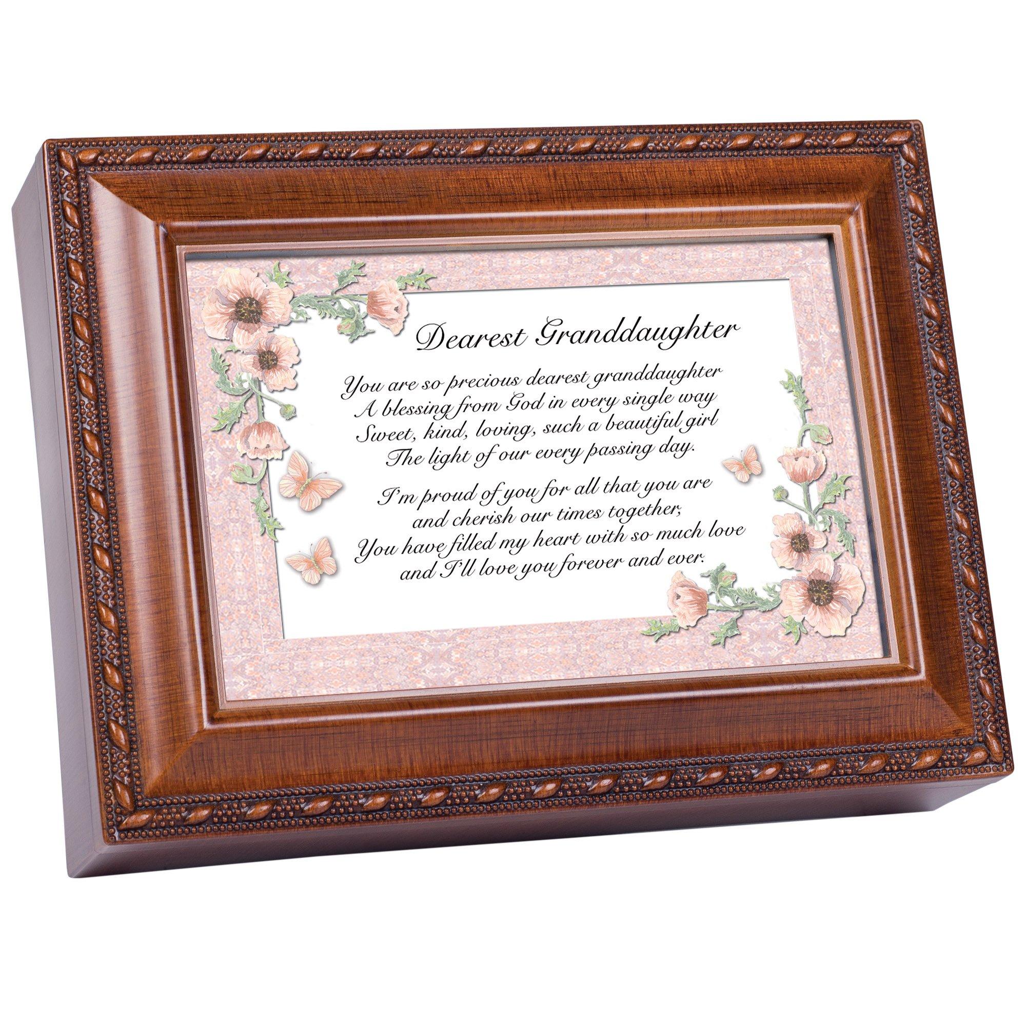 Cottage Garden Dearest Granddaughter Woodgrain Music Box Plays Light Up My Life
