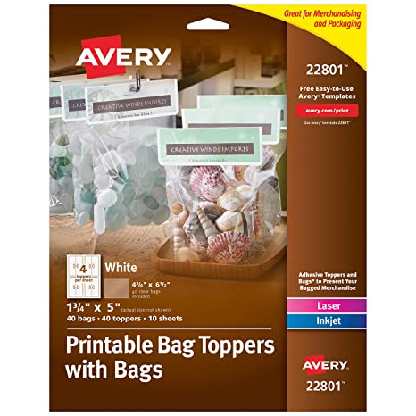 photo about Free Printable Bag Toppers Templates named Avery Printable Bag Toppers for Laser Inkjet Printers, Luggage Involved, 1.75\