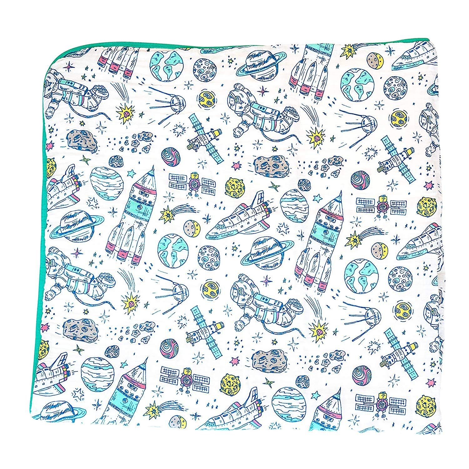 100% Organic Muslin Everything Blanket by ADDISON BELLE - Oversized 47 inches x 47 inches - Best Baby/Toddler Gift - Premium 4 Layer Muslin Blanket/Dream Blanket (Space Print)