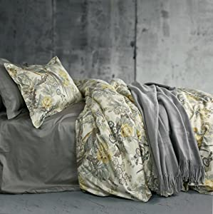 Chinoiserie Chic Peacock Floral Duvet Cover Paradise Garden Botanical Bird and Tree Branches Vintage Stylized Long Staple Cotton 3pc Bedding Set (King, Yellow)