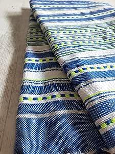 Miktex Toalla Fouta Etnica Lurex, XL 100 x 200 cm, 100% algodón, 380 g Suave, Flexible, Absorbente y Ligera. Toalla de Playa, Mantel, sofá, Colcha, paréo, Picnic (Lurex Azul, Real Blanco, Verde