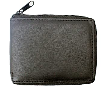 cac7292b5cd97 RAS Mens RFID Blocking Soft Genuine Leather Zip Around Wallet Purse ID Card  Holder With