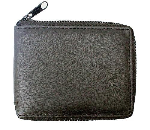 Cartera para hombre de piel suave auténtica con cremallera alrededor, bloqueo RFID, con compartimento para tarjetas y para monedas: Amazon.es: Zapatos y ...
