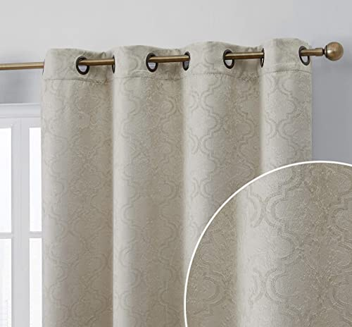HLC.ME Redmont Lattice Decorative Soft Thermal Insulated Energy Efficient Room Darkening Privacy Blackout Grommet Long Curtain Panels for Bedroom – Set of 2 Panels 52 x 96 Inches Length, Beige