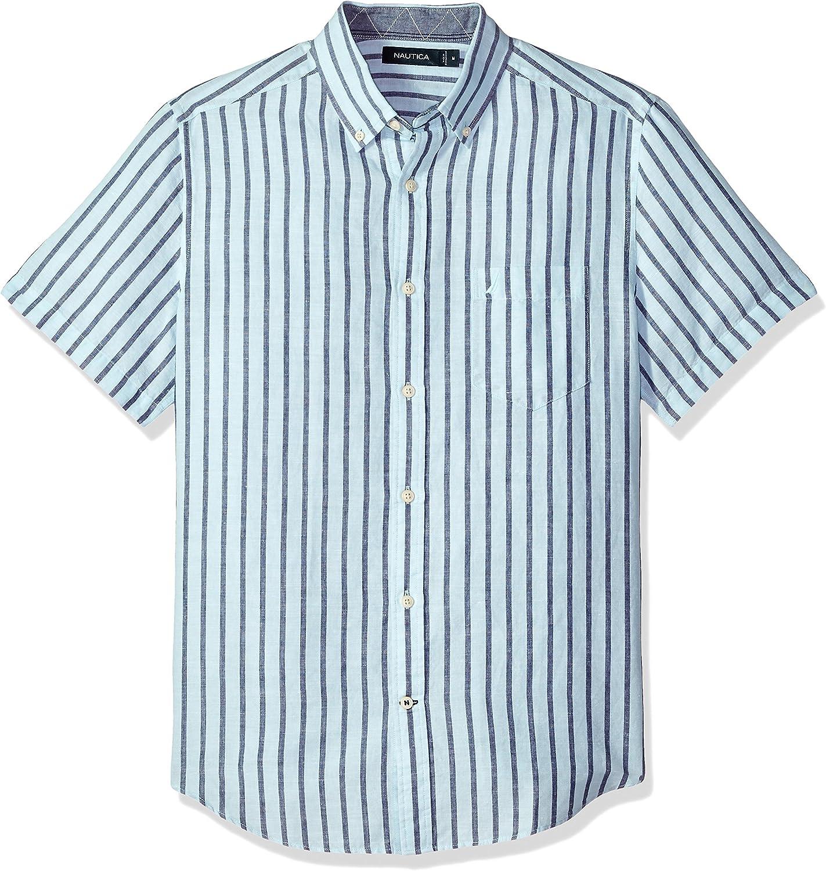 Nautica - Camisa de manga corta con botones de lino a rayas: Amazon.es: Ropa y accesorios