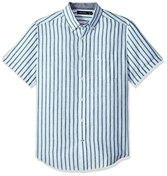 9316393911 Nautica Men's Short Sleeve Classic Fit Striped Linen Button Down Shirt,  Harbor Mist Small