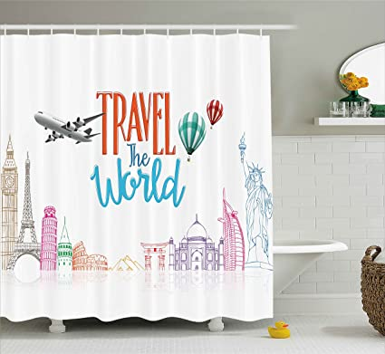 Ambesonne Quote Decor Shower Curtain Travel The World Lettering With Around Landmarks Balloons Artwork