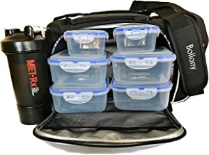 Meal Prep Lunch Bag For Men and Women, Insulated Lunch Box With 6 Stackable Food Portion Containers Reusable, Gym lunch bag Shaker Bottle With Storage and Shoulder Strap.