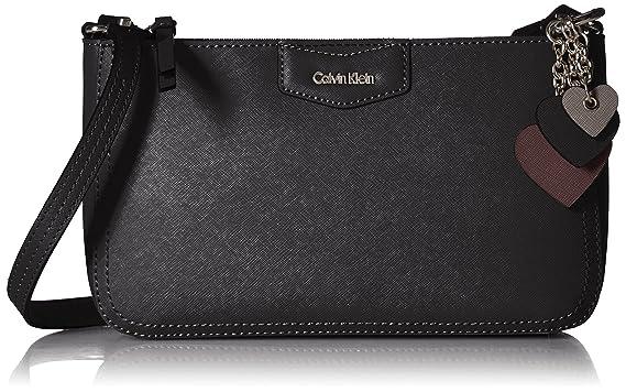 a4291dd512 Amazon.com: Calvin Klein womens Calvin Klein Saffiano Leather Key Item Demi Shoulder  Bag With Charm Hanger, black/silver, One Size: Clothing