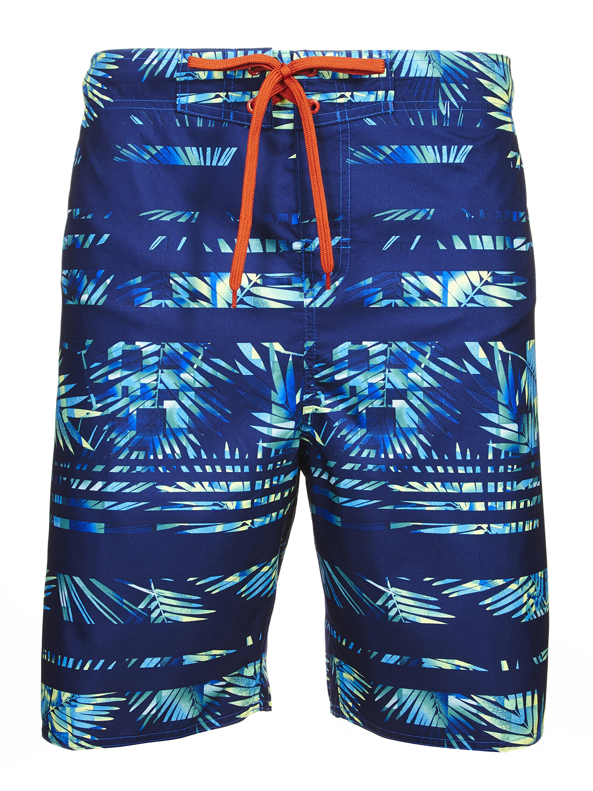 Laguna Mens Rainbow Palm Stripe Boardshort Swim Trunks Bathing Suits Blue Combo Large
