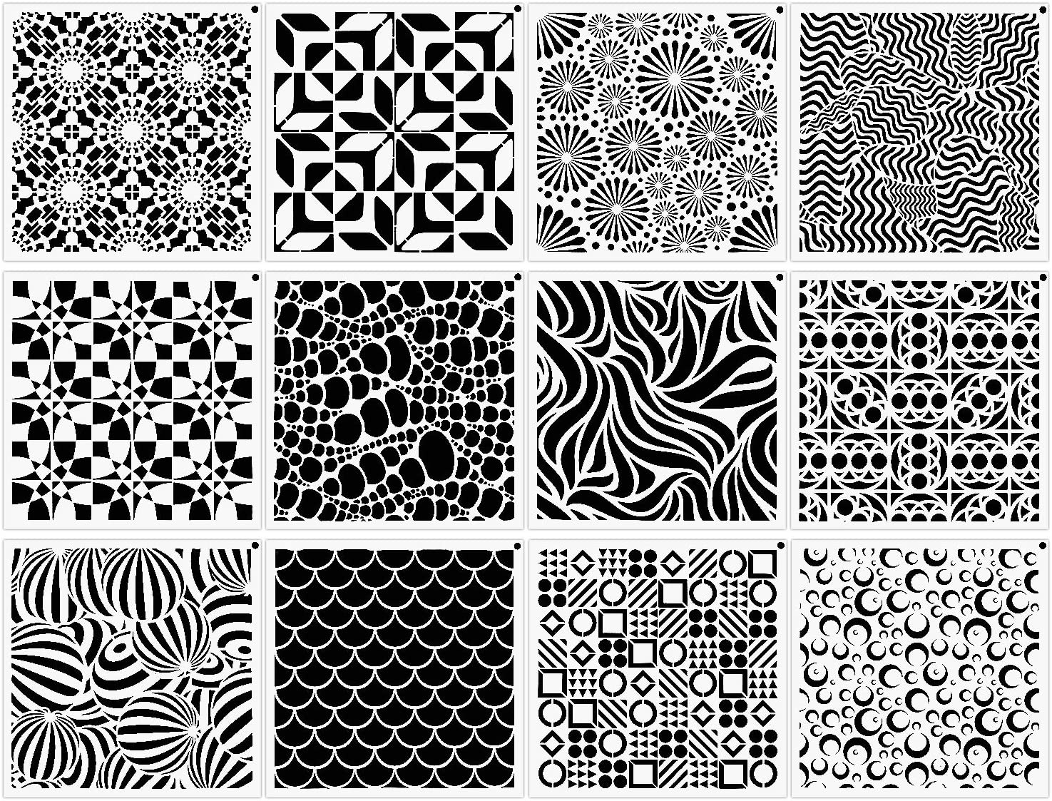 12-Pack (12x12Inch) Geometric Stencils Painting Templates for Wall Tile Floor Furniture Wood Scrapbooking Craft Drawing Tracing DIY Art Supplies