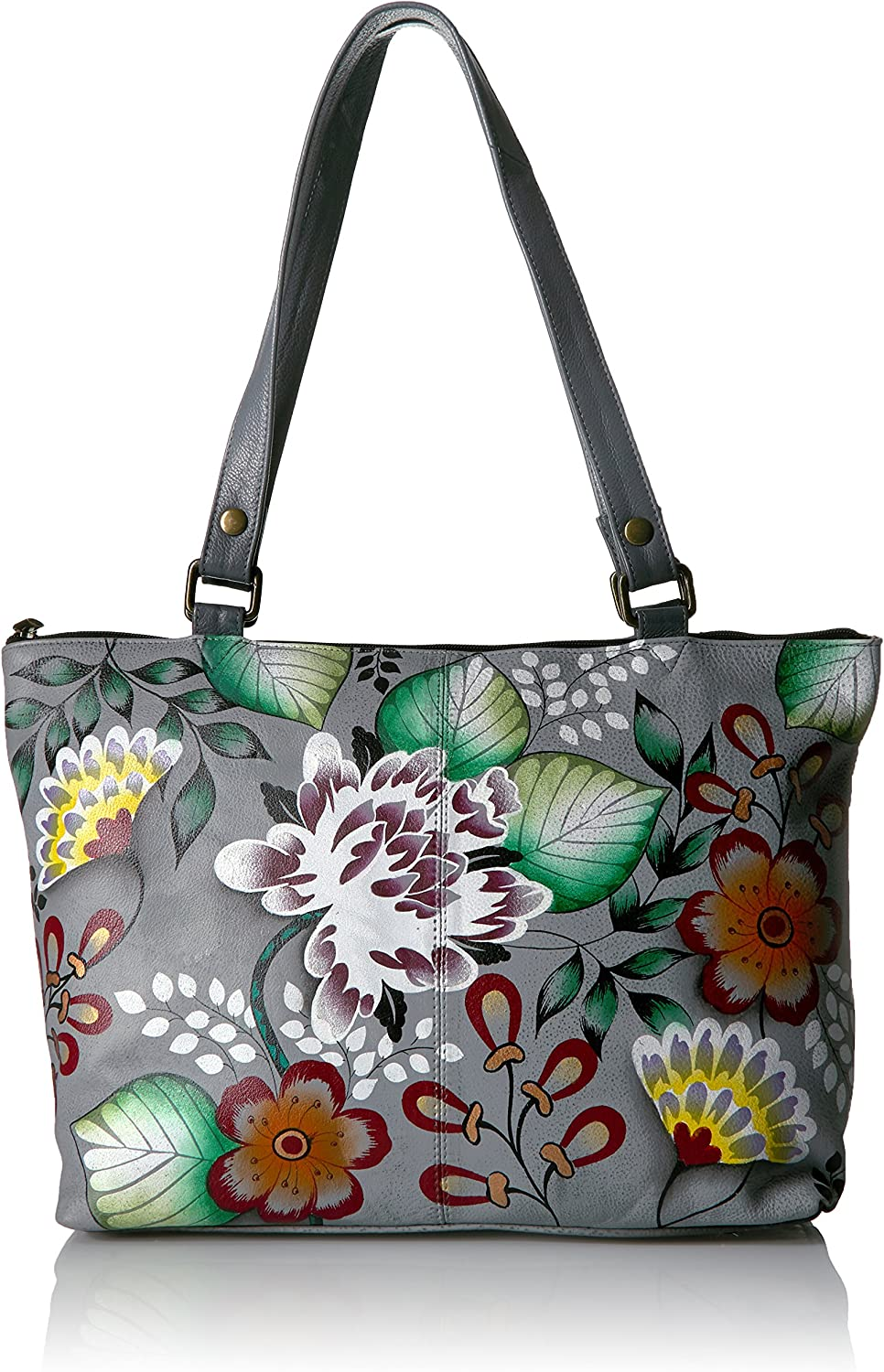 Anna by Anuschka Women's Genuine Leather Large Classic Tote | Hand Painted Original Artwork