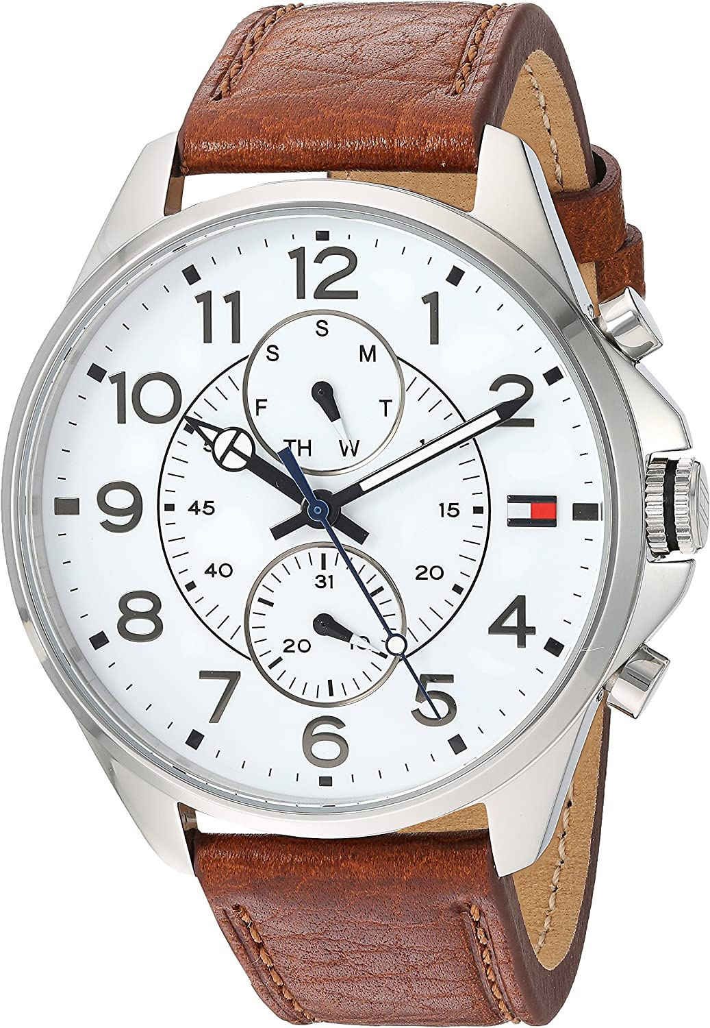 Tommy Hilfiger Men s Quartz Stainless Steel and Leather Watch, Color Brown Model 1791274