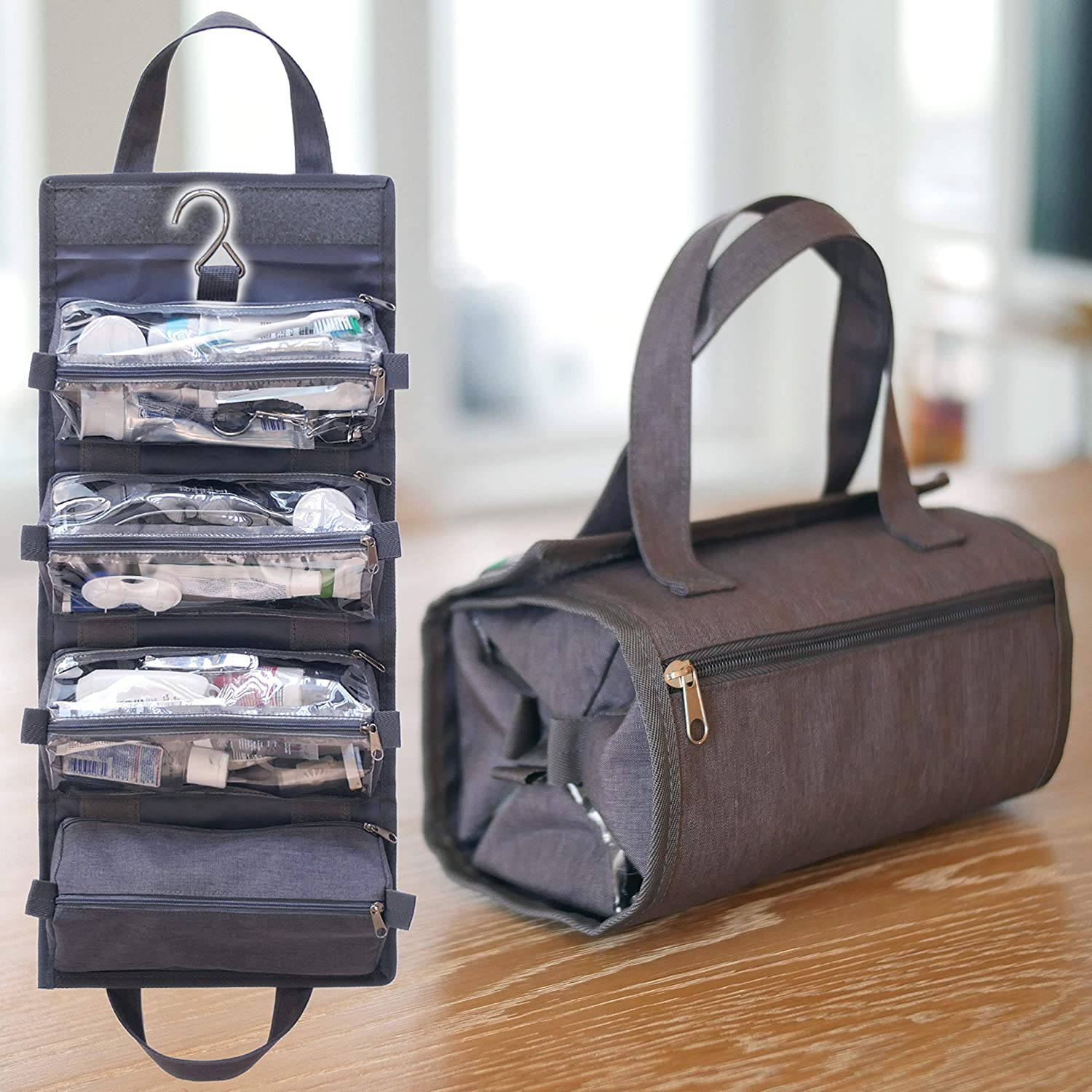 17589485e1c4 Details about Hanging Toiletry Travel Bag Organizer Roll Up Cosmetic Kit  Hook Carry On Grey
