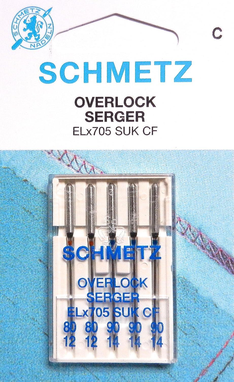 5/schmetz cucire aghi per macchine overlock ELx705/Suk CF spessore 80//12/e 90//14