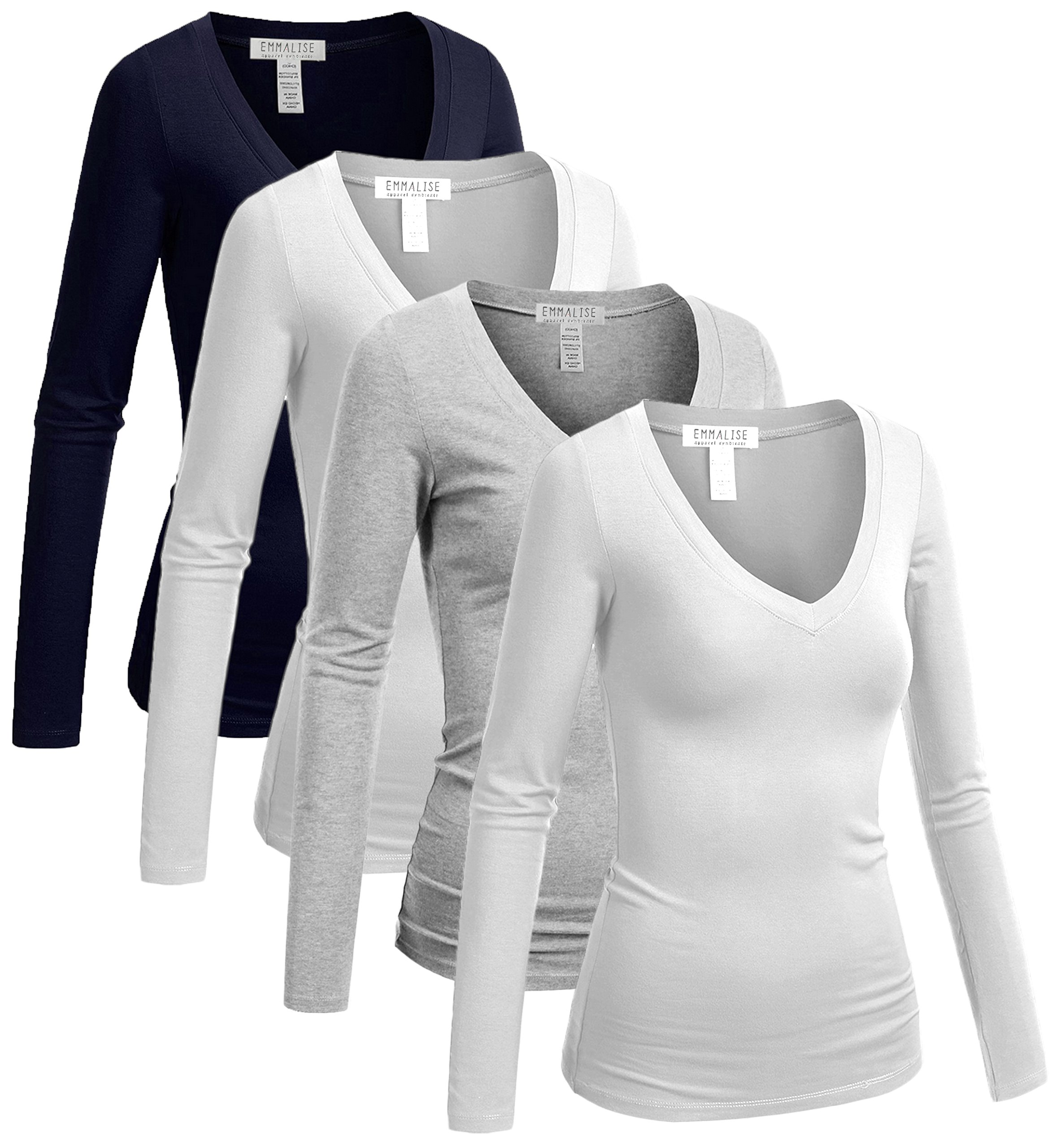 Emmalise Women's Casual Basic V-Neck Tshirt Long Sleeves Tee Top - 4Pk-White,White,H Gray,Navy, 3XL