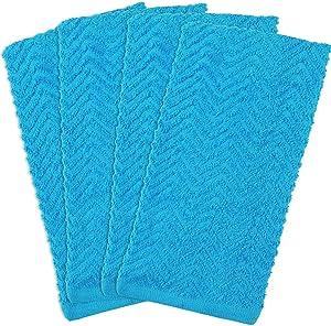 "DII CAMZ34962 100% Cotton, Everyday Kitchen Basic, Heavy Duty Bar Mop, Drying & Cleaning, 16 x 28"" Zig Zag Weave Dishtowel, Set of 4- Neon Blue"