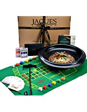 Jaques Roulette - Huge 40cm / 16 Inch Luxury Roulette Wheel - Roulette Set for Casino Games - Inc. Black Jacks cards, Balls, Playing Cloth - Complete Roulette Set of London