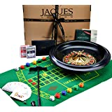 Jaques of London Roulette - Huge 40cm / 16 Inch Luxury Roulette Wheel - Roulette Set for Casino Games - Inc. Black Jacks cards, Balls, Playing Cloth - Complete Roulette Set