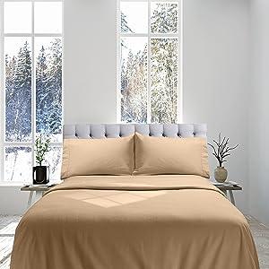 Genteele 100% Cotton Flannel Sheet Set - Luxurious Heavyweight - Ultra Soft Premium Velvety Quality 3 Piece Set - Twin, Camel