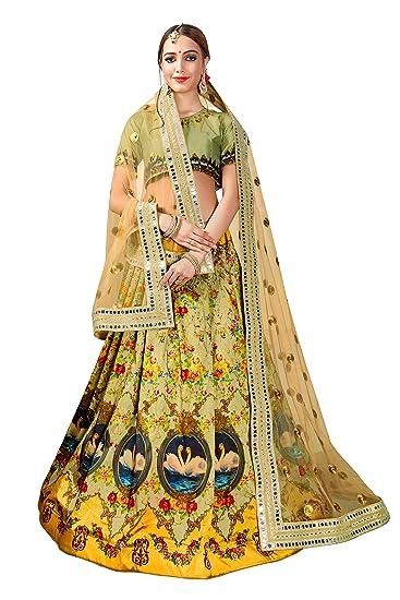 e2b7384bbb PrashaFashion Women's Taffeta Silk Digital Printed Lehenga Choli  (Multi_Green, Free Size)