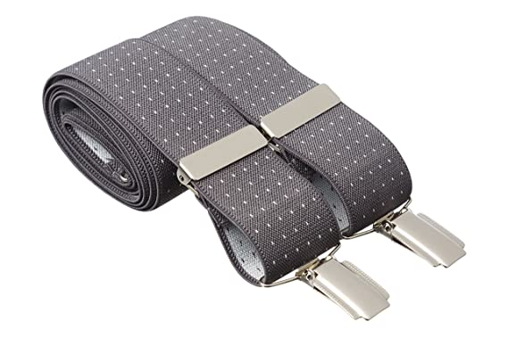 Argyle Diamond Black Grey Clip On Trouser Braces Elastic Suspenders Handmade UK