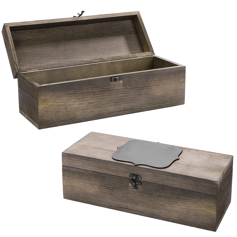 Amazon.com: MyGift - Juego de 2 cajas de regalo de madera ...