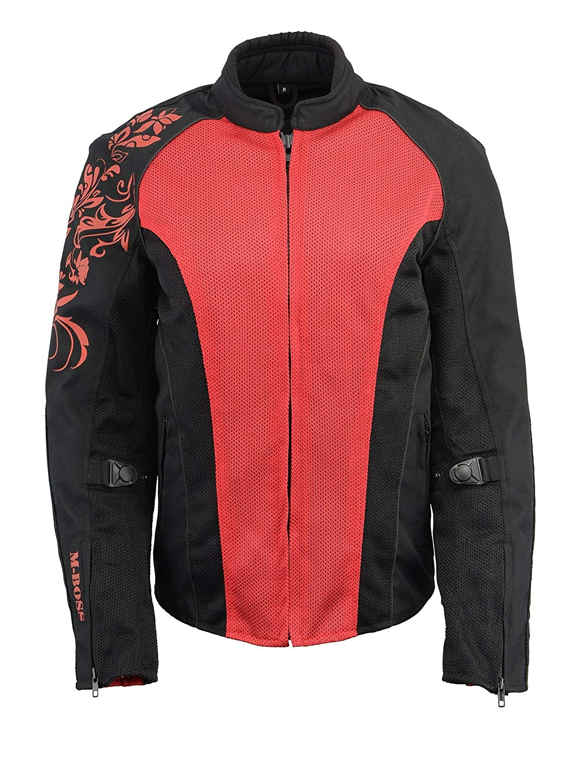 M Boss Apparel BOS22700 Ladies Black and Red Mesh Jacket with Flower Printing 2X-Large