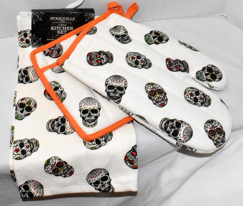 Gourmet Club New 3pc Colorful Sugar Skulls Halloween Heat Resistant Dish Towel, Oven Mitt & Pot Holder
