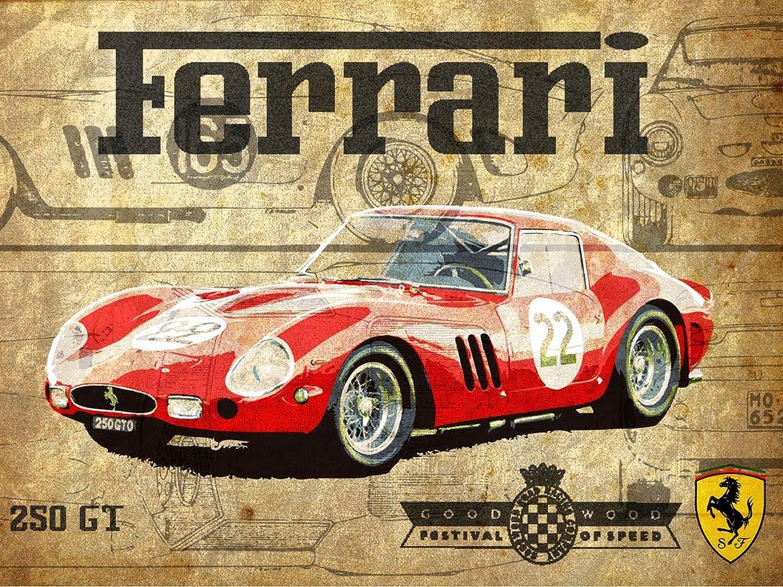 Plaque murale métallique vintage - Motif: Ferrari 250 GT