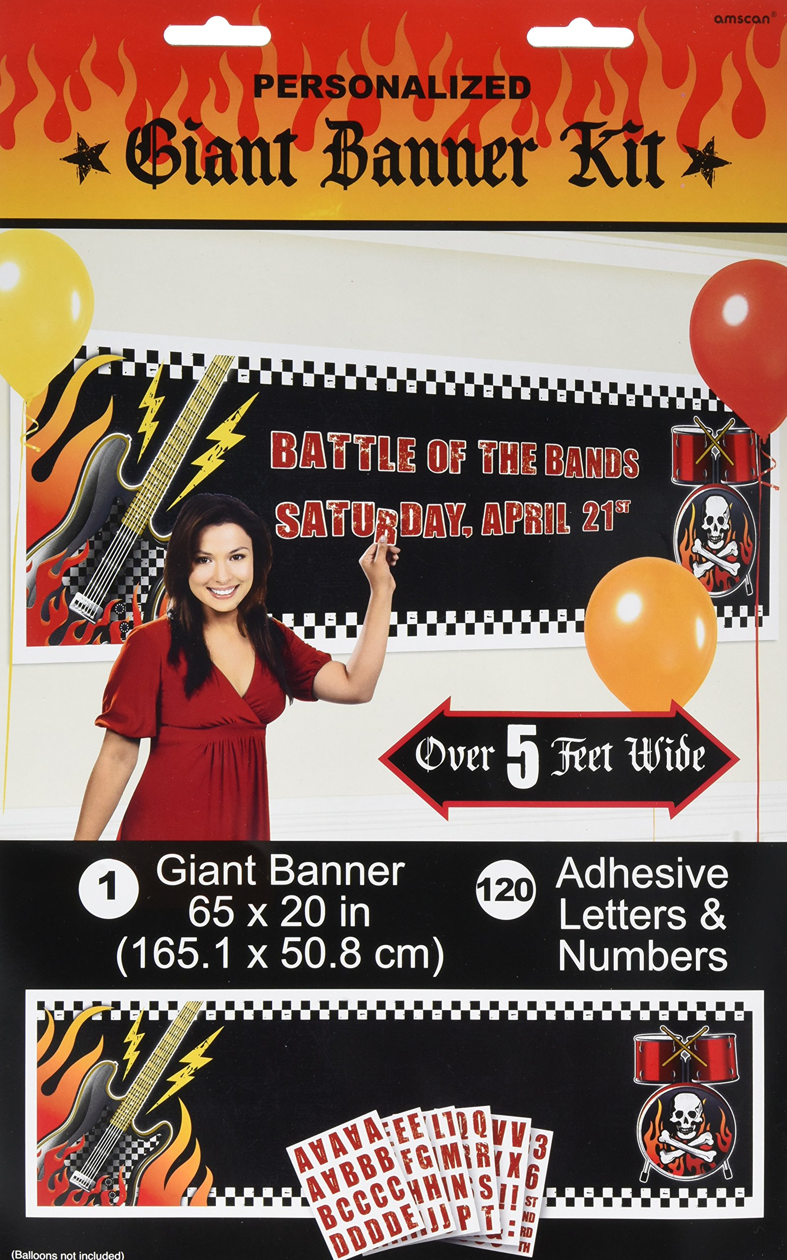 Amscan Rock on Personalize It Giant Party Sign Banner Decoration, 65'' x 20'', Pack of 121. Supplies , 1452 Pieces by Amscan