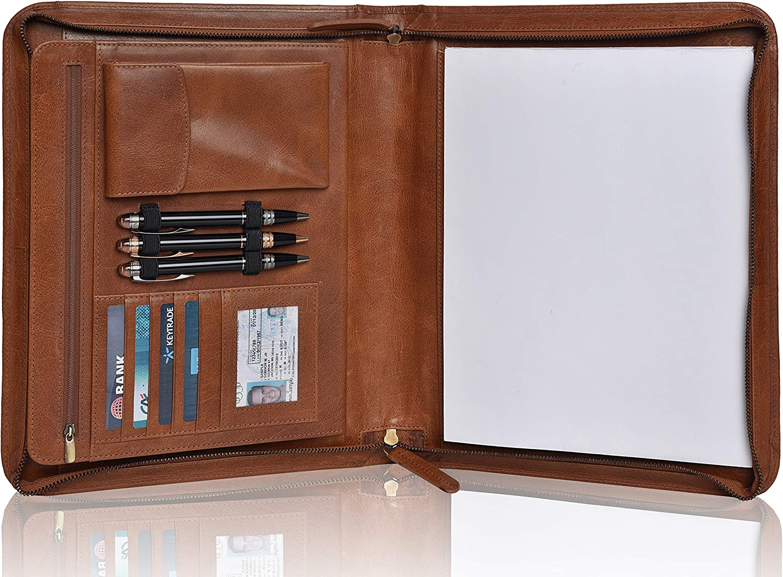 Leather Portfolio for Men and Women - Multi Pocket Zippered Padfolio Folder (Cognac Vintage)