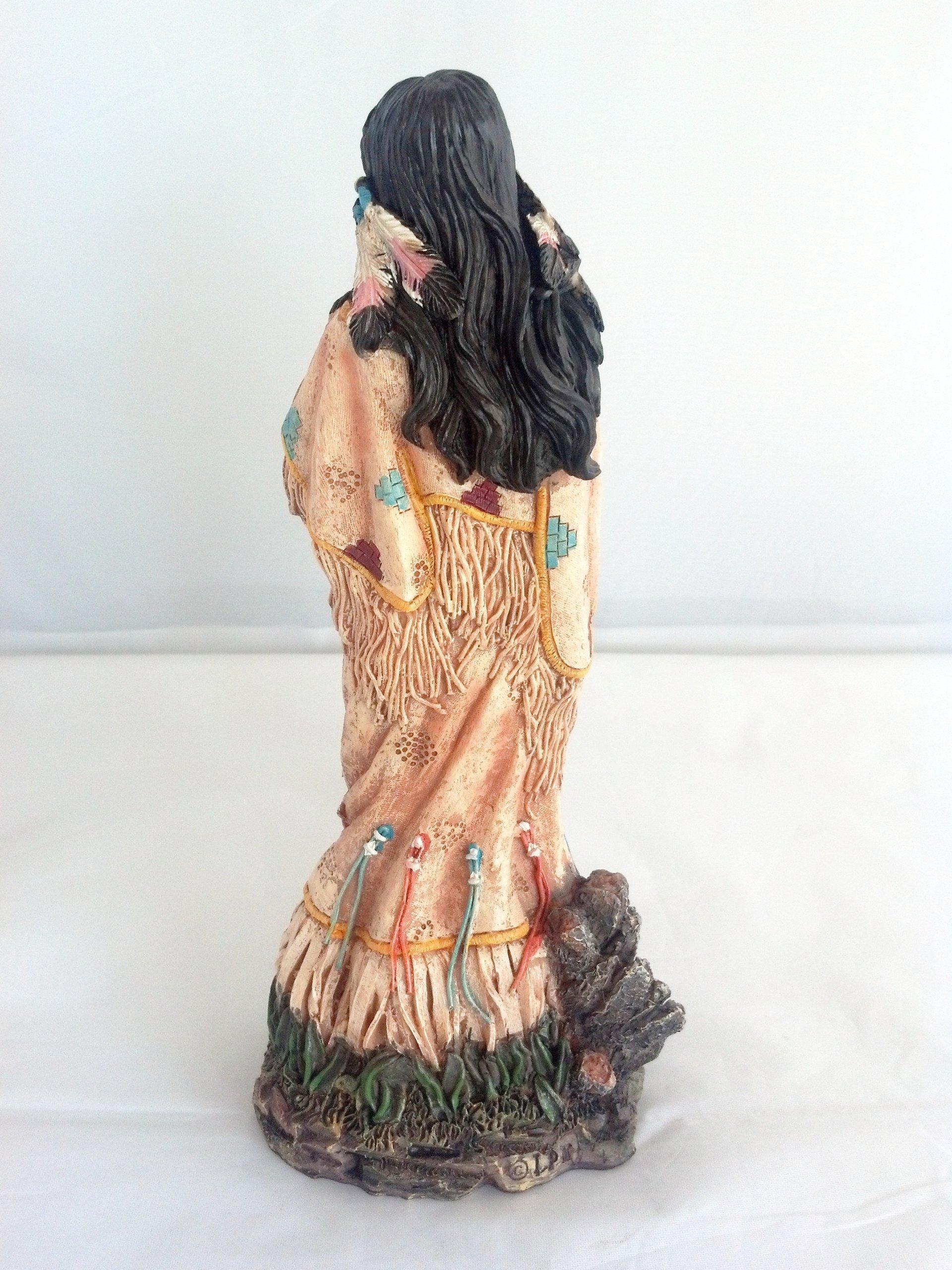 11 Inch Indian Girl w/ Baby Statue Figure Figurine Warrior Indio India American