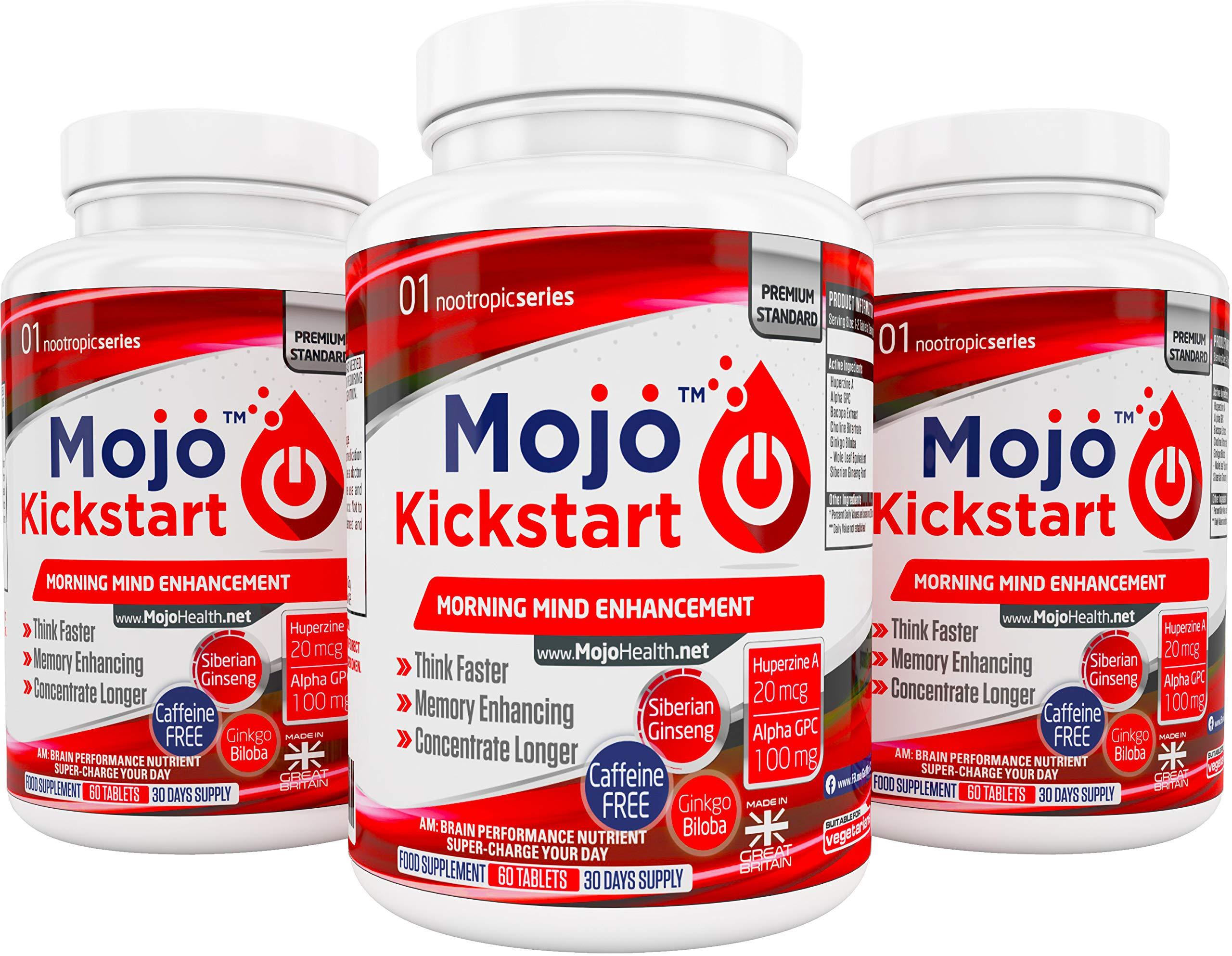MOJO KICKSTART - Nootropic Alpha Brain Wave Boost Mental Supplements Focus Nootropics Enhancement   Alpha GPC   Bacopa   Choline   L-Tyrosine   Ginkgo Biloba   CoQ10   Ginseng + MONEY BACK GUARANTEE