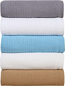 AAVNI HOMES Classic Weave Cotton Blanket Full Queen Size (90 x 90 Inches) Aqua Sky Blue Color All Season Premium Breathable Light Weight Ultra Soft