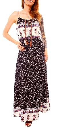 Damen Hippie Boho Sommer Maxi Spaghettiträger Träger Tunika Kleid
