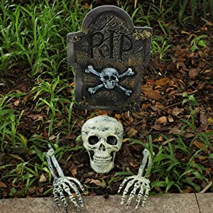 Halloween Decor Groundbreaker Halloween Skeleton Stakes Skull with 16 Inch Corrugated R.I.P. Graveyard Tombstone Best Outdoor Halloween Decoration Props