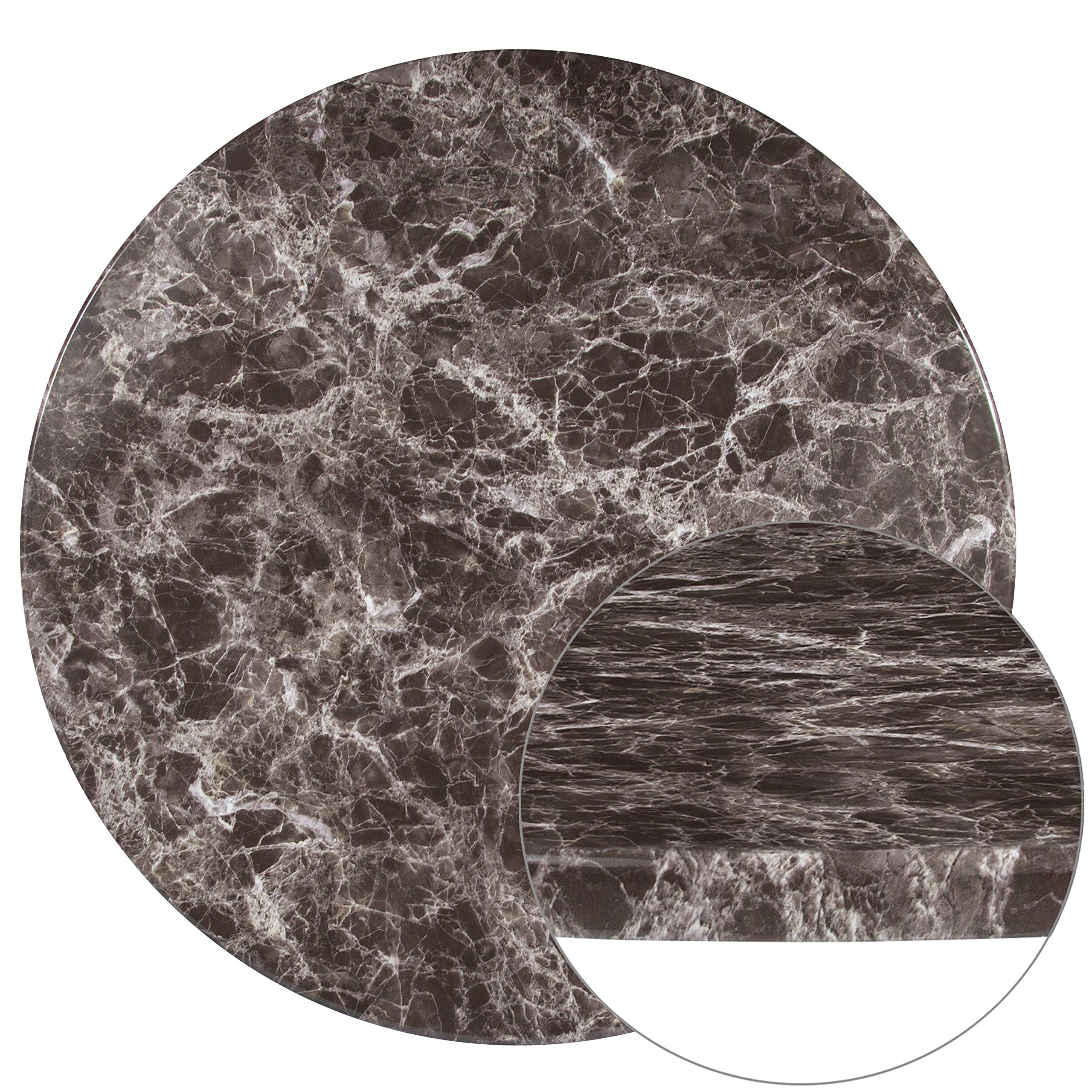 Flash Furniture 36'' Round Gray Marble Laminate Table Top