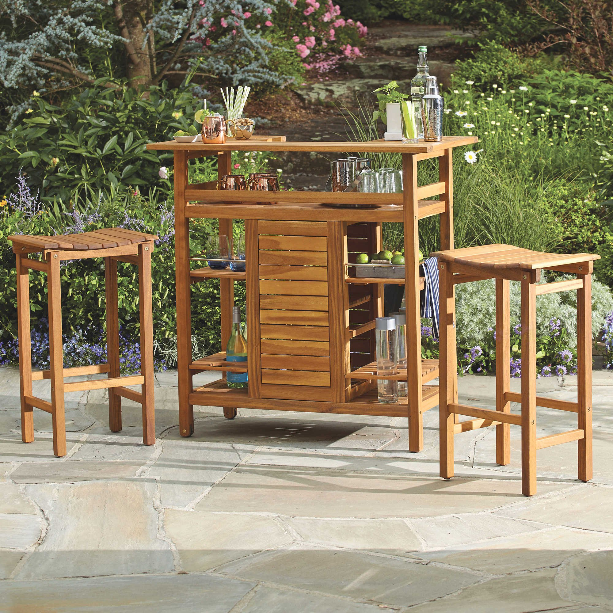 29-inch Outdoor Bar Stools of Westerly Acacia Wood, Softly Curved Seat for Comfort, Perfect for Patio or Outdoor Entertainment Area, (Set of 2)
