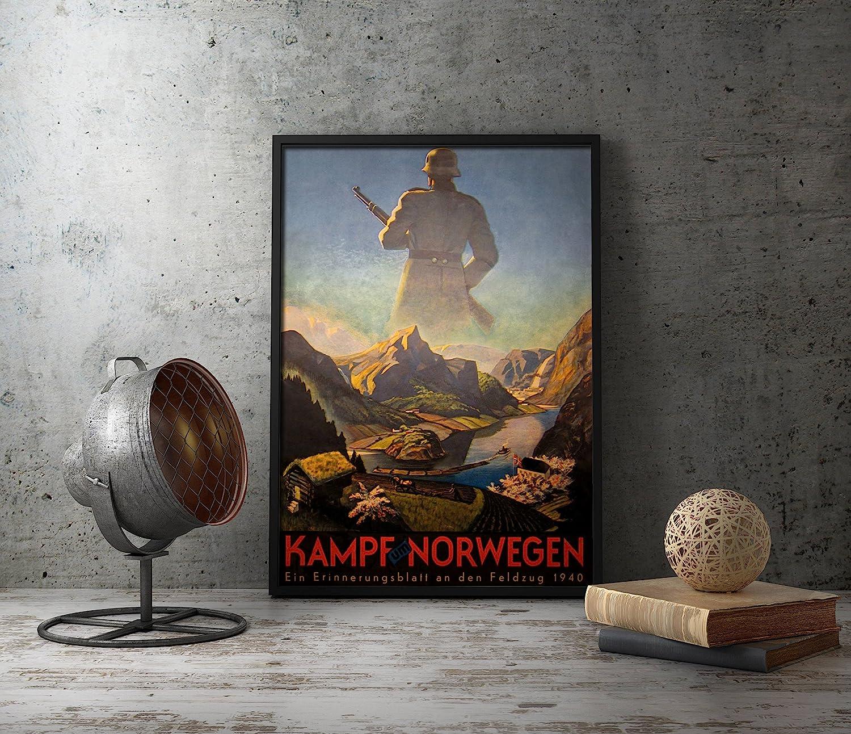 WW2 German Propaganda Poster - KAMPF UM NORWEGEN - WWII Military Wall Art Decor idea for Home, Office, Living Room, Bedroom, Garage, Military collector
